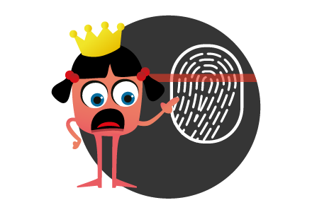 The drama queen software testing monster comparing the uniqueness of TestBash to a fingerprint.