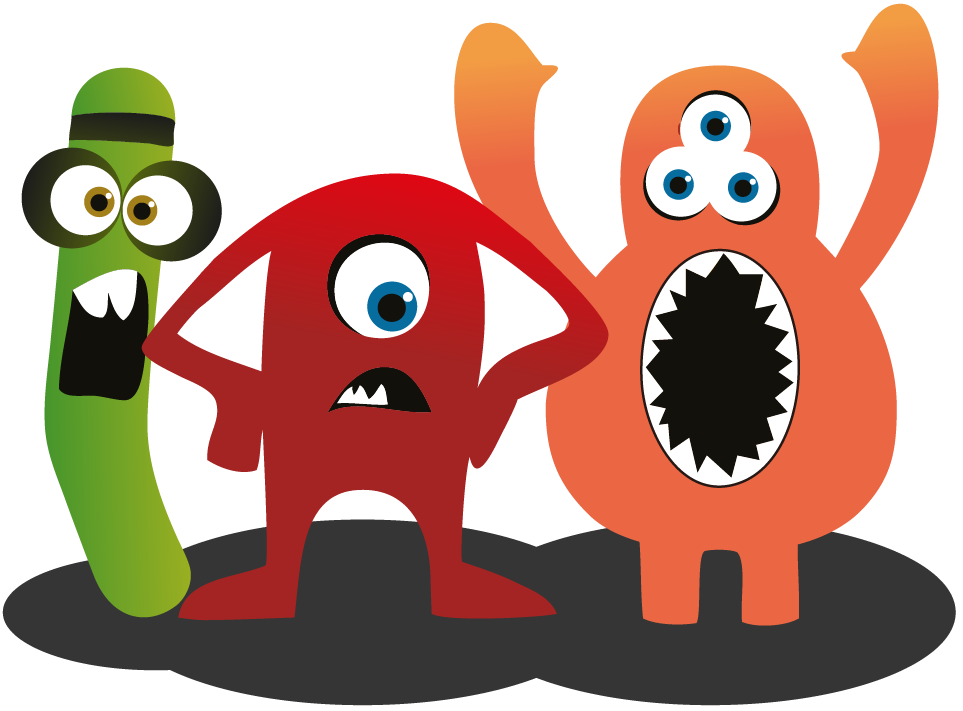The 3 original software testing club monsters standing in camaraderie, hoping you want to learn more about them and Ministry of Testing