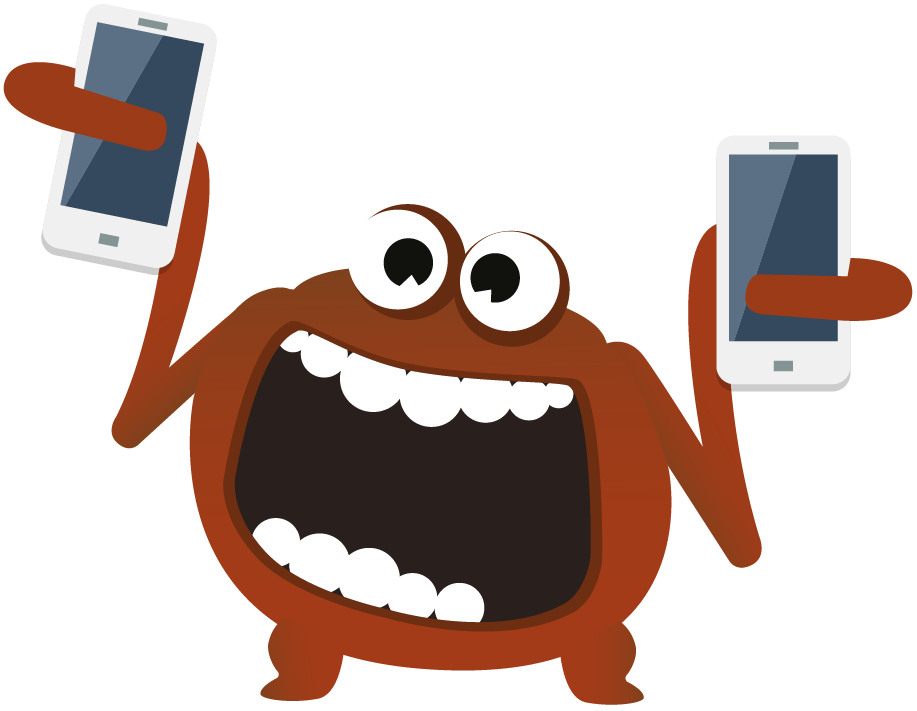 The socialiser software testing monster connecting with the Ministry of Testing community via many smartphones