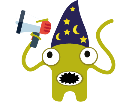 The magician software testing monster holding a megaphone, making an impact and telling the community about their magical product by sponsoring TestBash software testing conferences